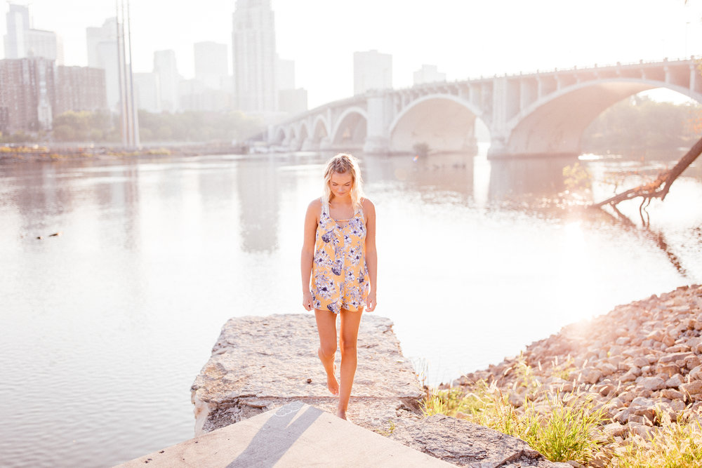 Twin Cities Senior photography during hazy golden hour