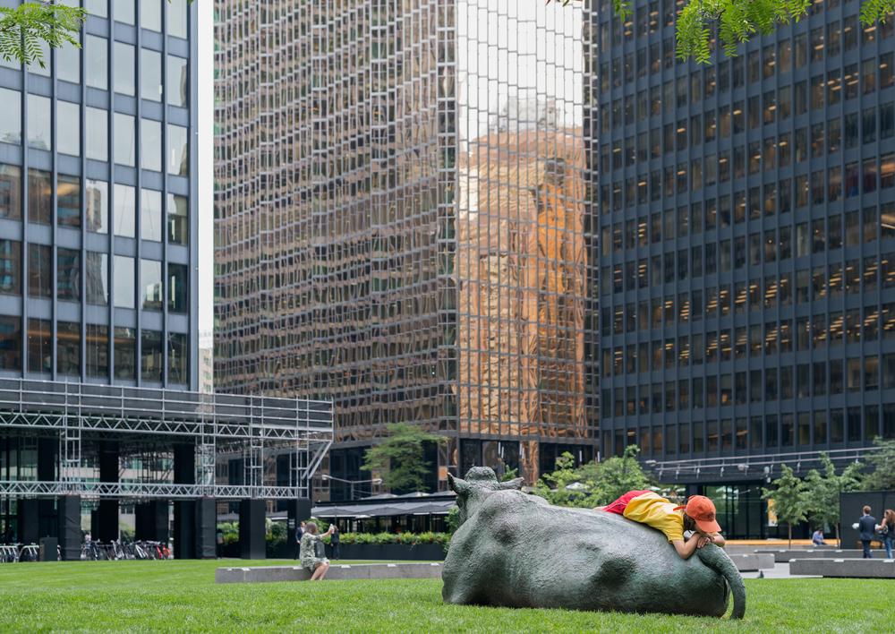 The Pasture  (1985) by Joseph Fafard, Toronto Dominion Centre Plaza. Photo by Matthew Monteith