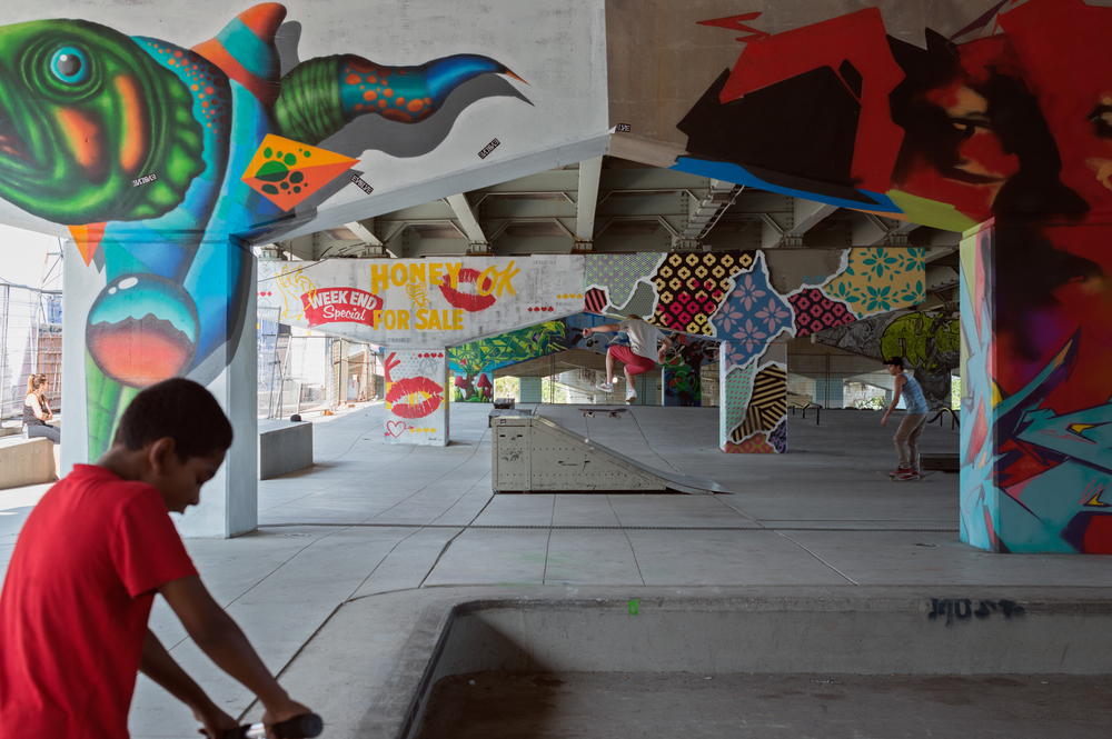 Underpass Park   (2015) by various artists, Located on River St  . Photo by Matthew Monteith.