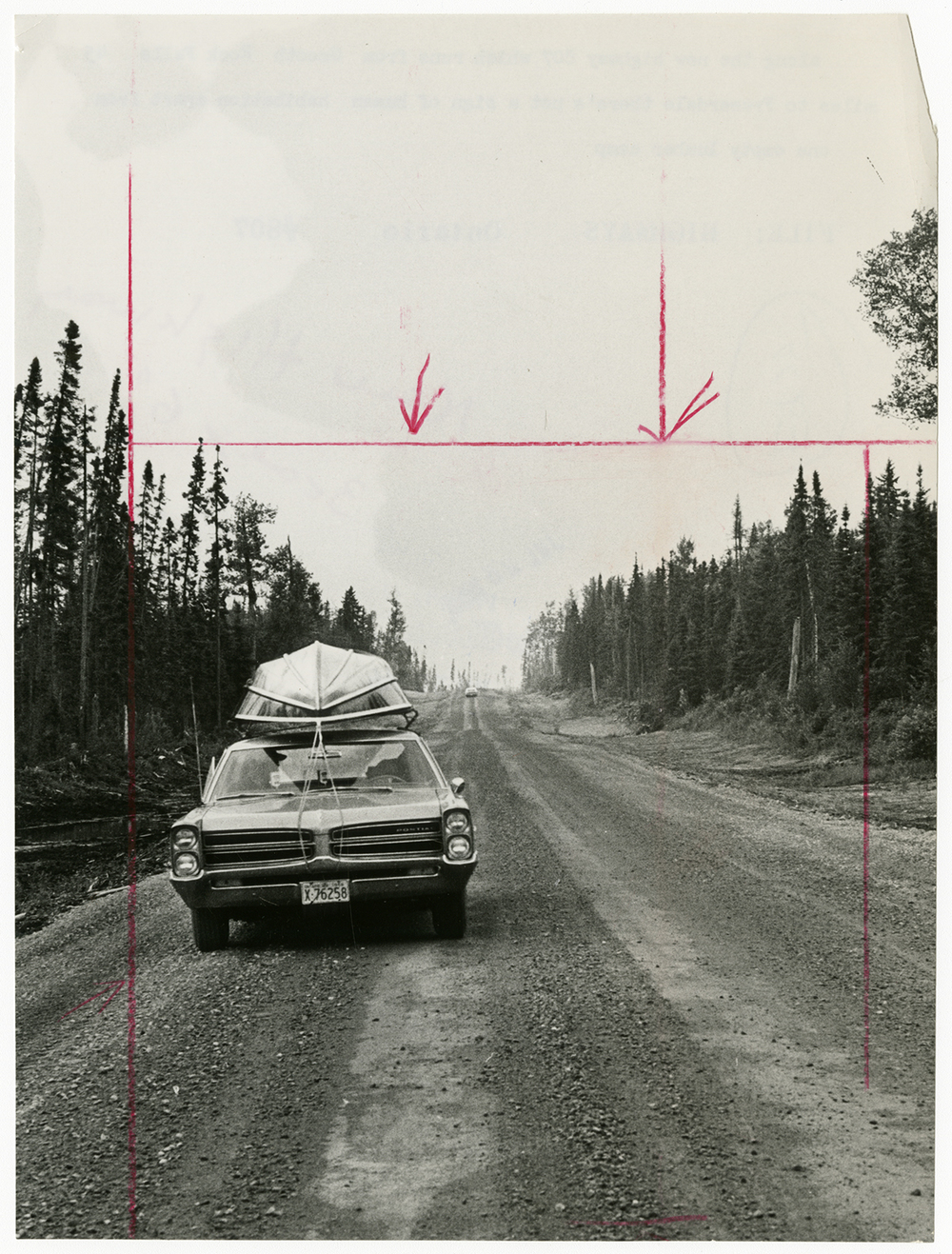 Unidentified Photographer,  Along the new highway, which runs from Smooth Rock Falls to Fraserdale, Ontario, there's no sign of human habitation apart from one empty lumber camp , c.1966. Gelatin Silver Print, 23.4 x17.5cm. Gift of The Globe and Mail Newspaper to the Canadian Photography Institute of the National Gallery of Canada.
