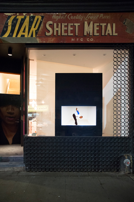 Public Window, 1575 Dundas Street West, Toronto. Installation by Rashaad Newsome. 2015.