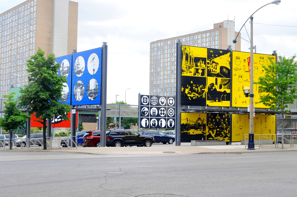Combination of the Two   by Matt Mullican, Bremner Blvd., Toronto. As posted by Public Art Management