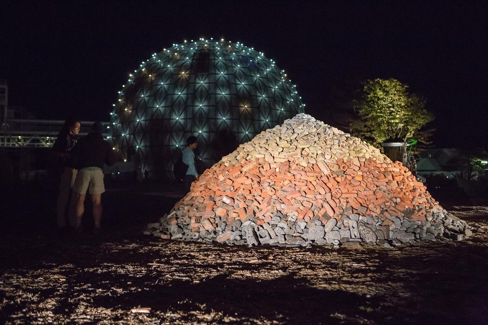 Rubble Pile  by Ben Watt-Meyer, presented at  in/future . Ontario Place, 2016. Photo by Andrew Williamson.