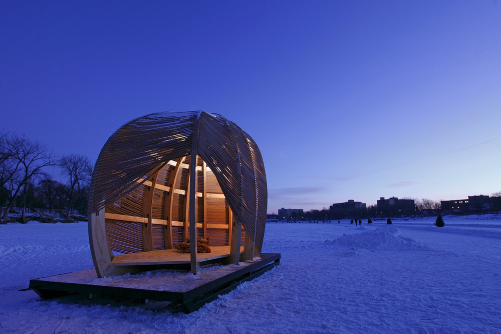 Rope Pavilion  by Kevin Erickson, Warming Huts 2012, Photo by Kevin Erickson.