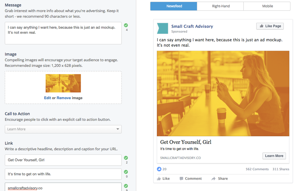 AdParlor is a great way to plan Facebook ad campaign creative