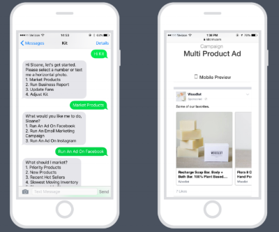 Kit communicates with you via text, asking you if and how you want to run Facebook ads for your Shopify store. Image courtesy Kit, Shopify App Store