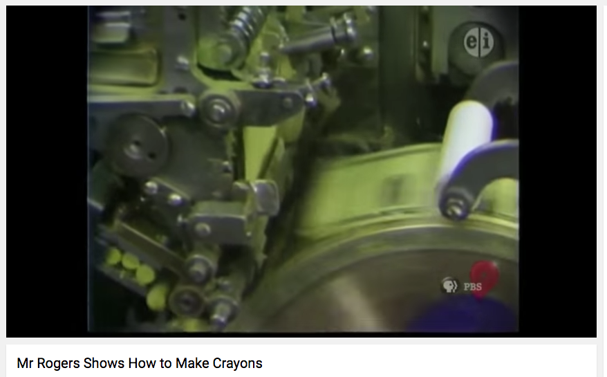 Mr. Rogers classic segment showing how to make crayons