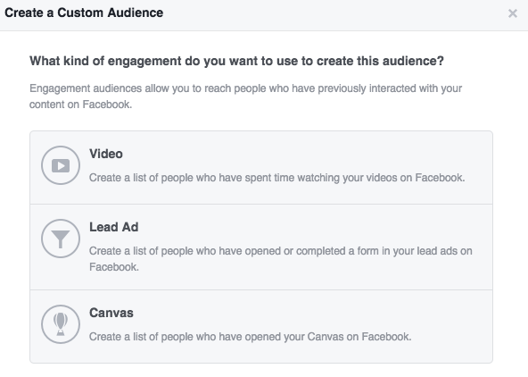 The Facebook ad platform allows you to create a custom audience based on audience engagement on Facebook, including advertising people who have watched your videos on Facebook.