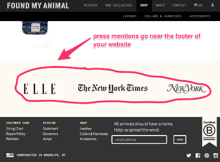 E-commerce blog tips: press mentions go near the footer