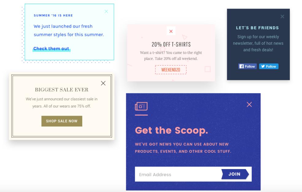 PixelPop's flat minimalist email pop-up style