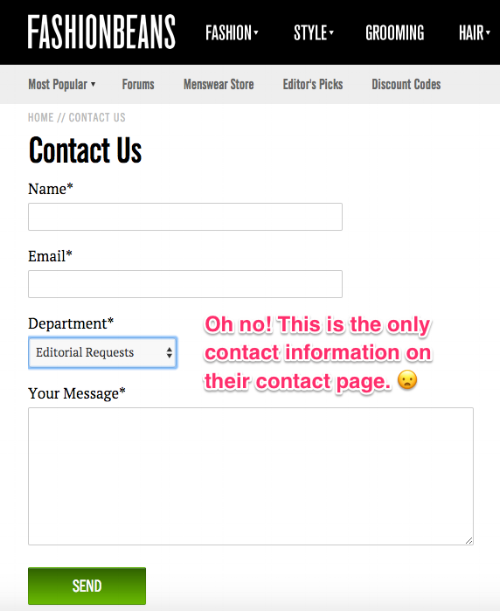 Find contact information for a blog