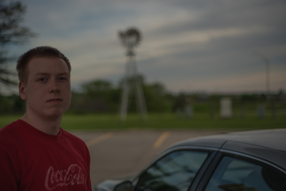 Scoring an internship in New Mexico, this guy was on a trip across the country from Wisconsin to make it to the job on time. This was photographed outside of Des Moines, Iowa.
