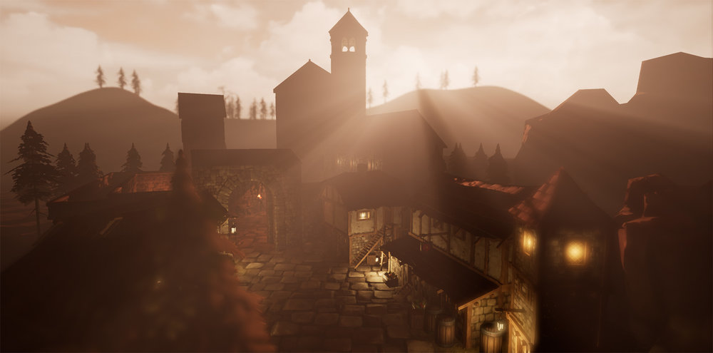 A fantasy town, at sunset, I built in Unreal Engine 4 using an asset pack.
