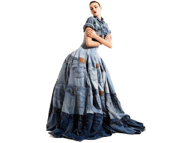 Denim dress made from 41 pairs of Levi's 501's