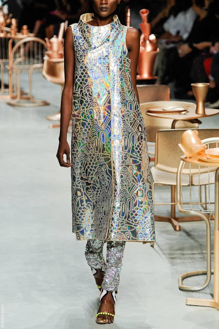 Manish Arora S/S 12 Love it, but how many times and places do you think someone can wear a head to toe holographic look before they acquire an unfortunate nickname?
