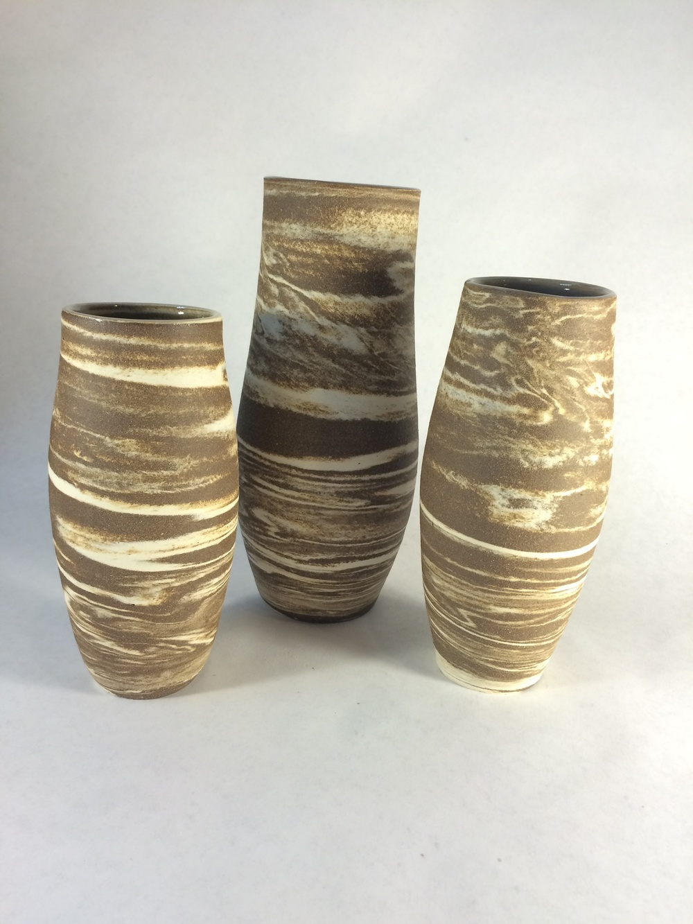 """Chocolate & Vanilla Swirl"" Assorted Vases, 2015"