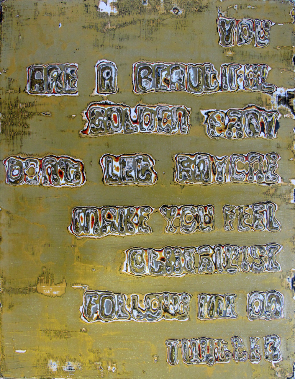 "25, Atlanta (Golden)  Reduced Acrylic on Panel,  Glitter  12"" x 16""  SOLD"