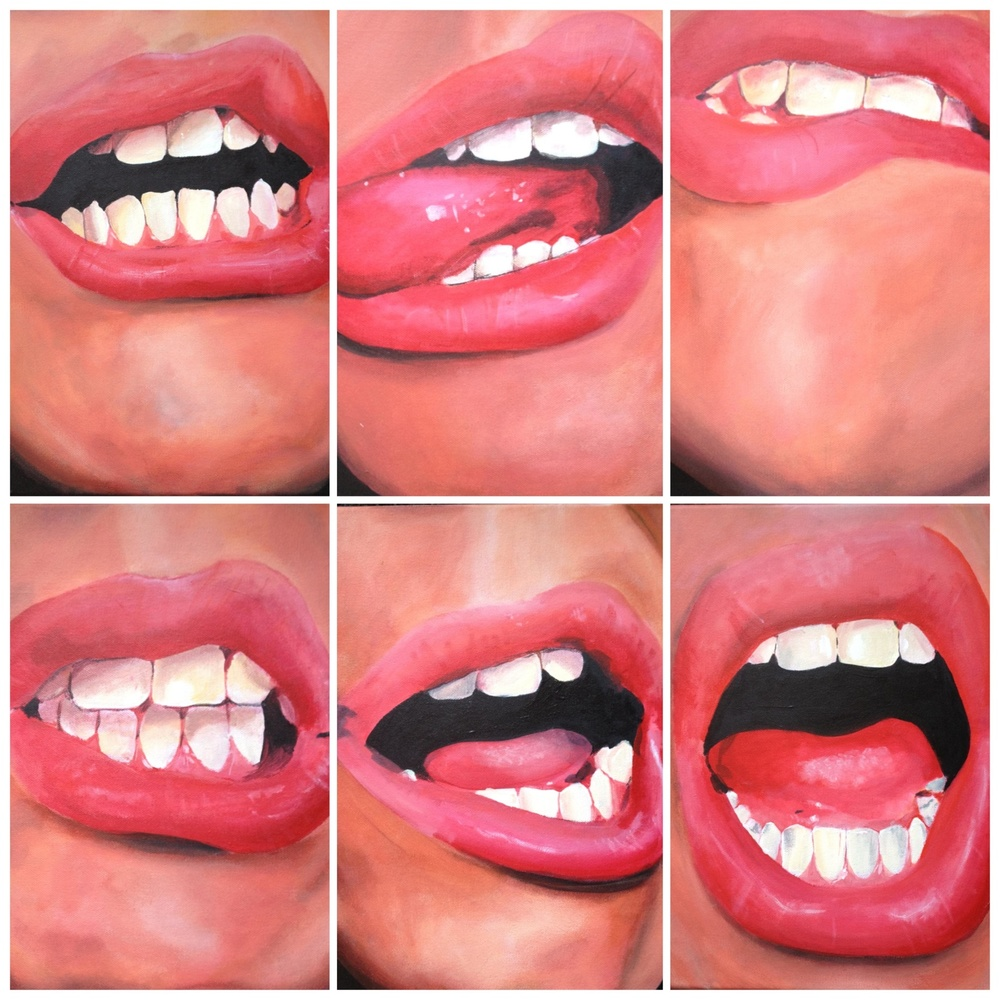 "Oral Fixation 1/Acrylic on Canvas/6 panels, 11""x14""  $1200  Prints available through Society6"