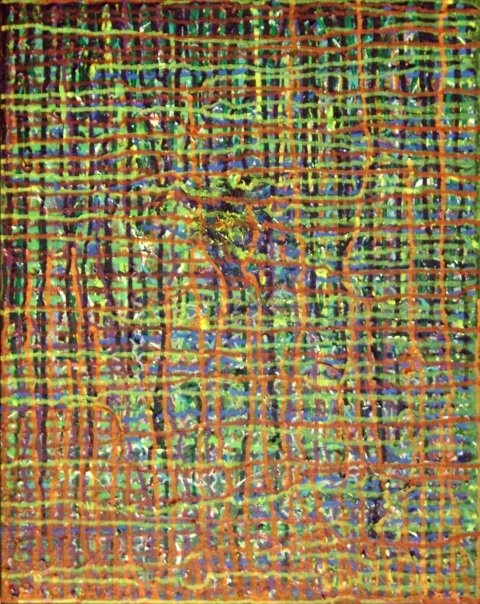 Rainbow Grid/Acrylic paint, hair, Found Objects on Canvas/2009