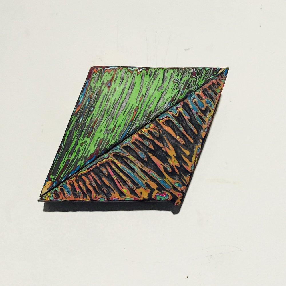 "Rhombus 4 Reduced Acrylic on Found Wood, Diptych 2015 3""x4"" $80"