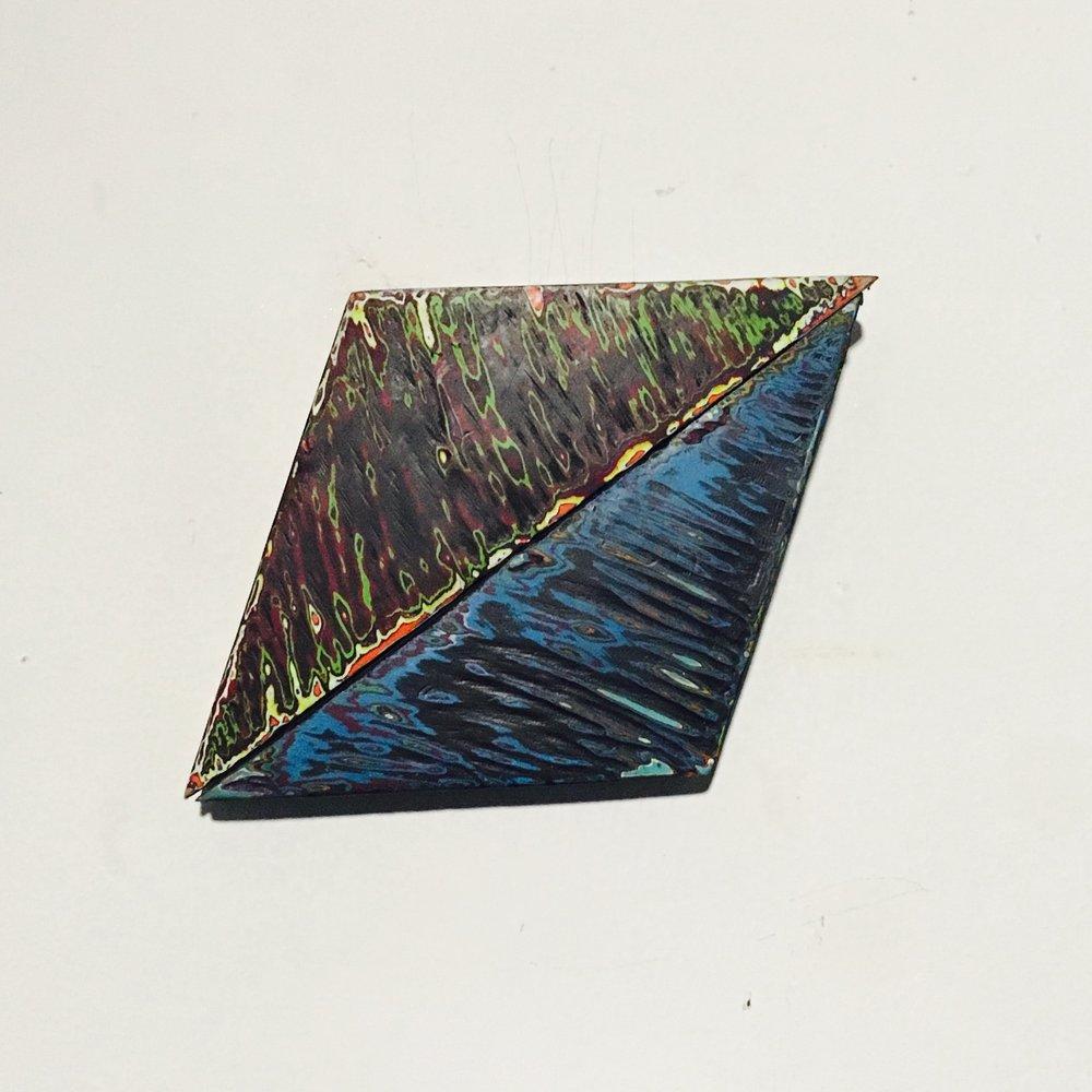 "Rhombus 6 Reduced Acrylic on Found Wood, Diptych 2015 3""x4"" $80"