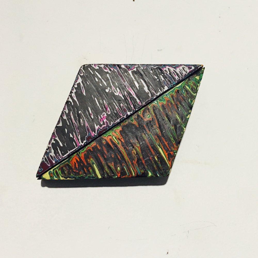 "Rhombus 5 Reduced Acrylic on Found Wood, Diptych 2015 3""x4"" $80"