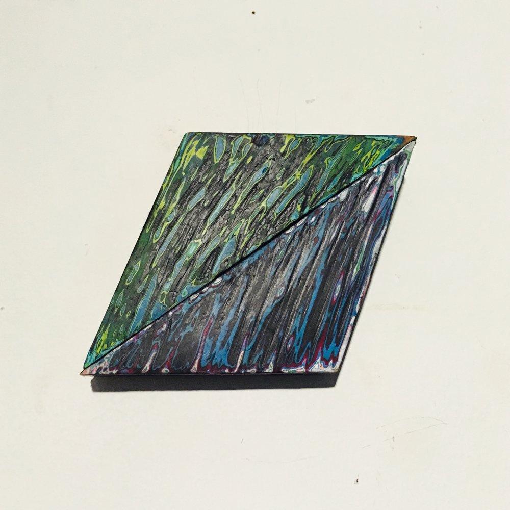 "Rhombus 2 Reduced Acrylic on Found Wood, Diptych 2015 3""x4"" $80"