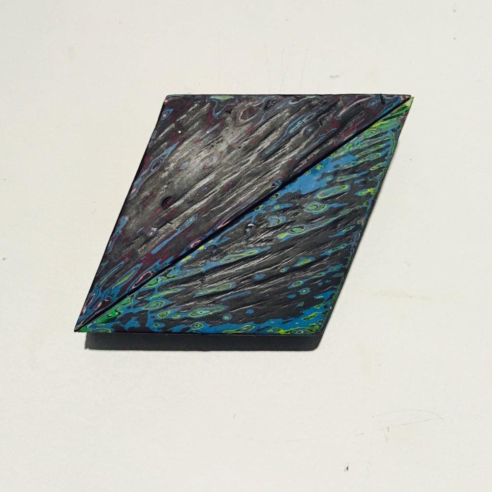 "Rhombus 3 Reduced Acrylic on Found Wood, Diptych 2015 3""x4"" $80"