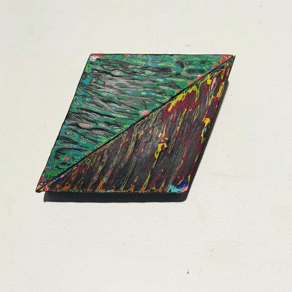 "Rhombus 1 Reduced Acrylic on Found Wood, Diptych 2015 3""x4"" $80"