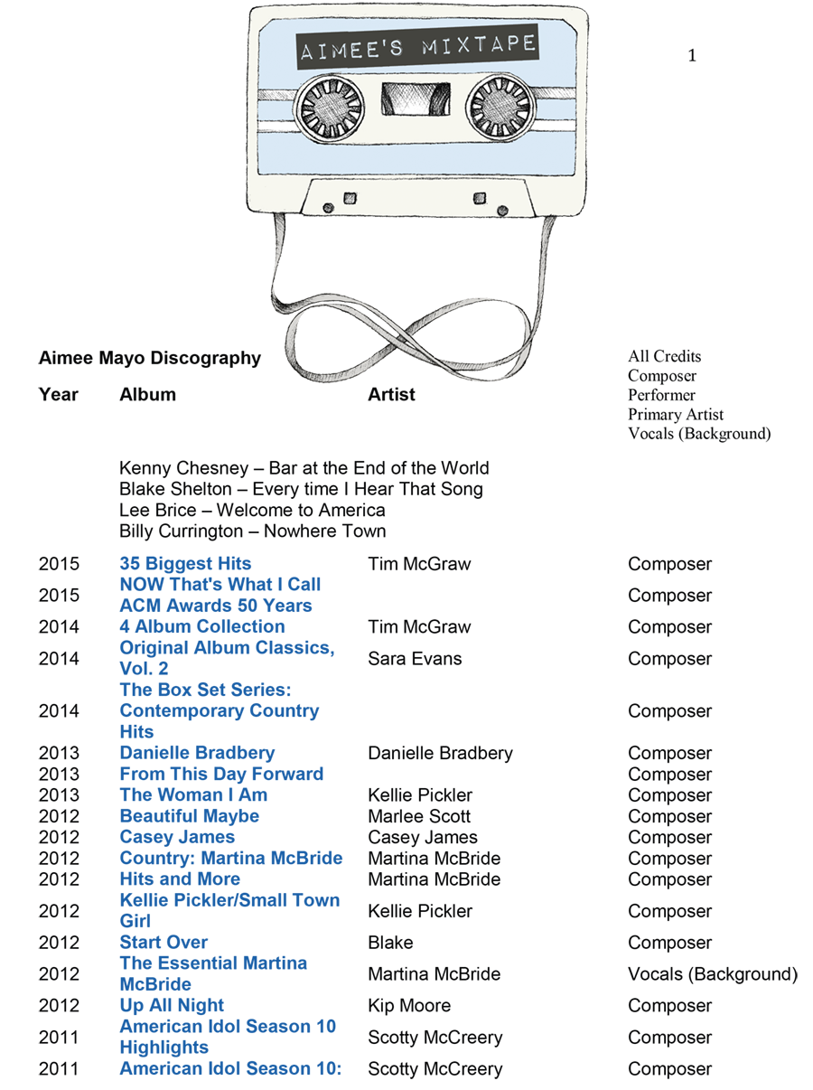 Aimee Mayo Discography 2016-1.png