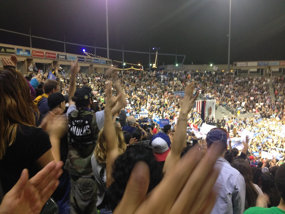 Packed stadium for Bernie Sanders rally in Carson, Ca.
