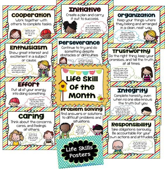 Examples of the many life skills posters that can be bought for your classroom.