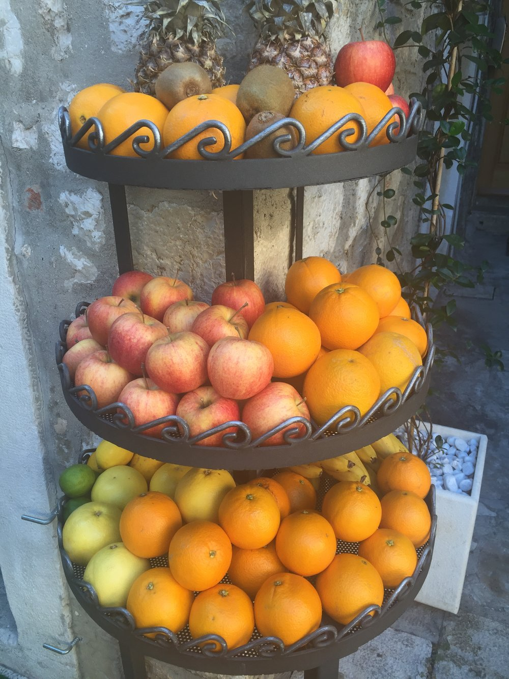 Vibrant fruit on display at Sibenik's open-air market, one of the best in Dalmatia.
