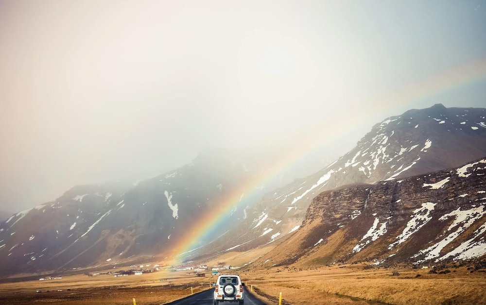 A typical and scenic drive throughout Iceland produces many scenes like this. In my entire life, I have never seen so many rainbows as I have in Iceland. Every day, all the time, and everywhere. Surely there is a pot of gold at the end of every magical road.