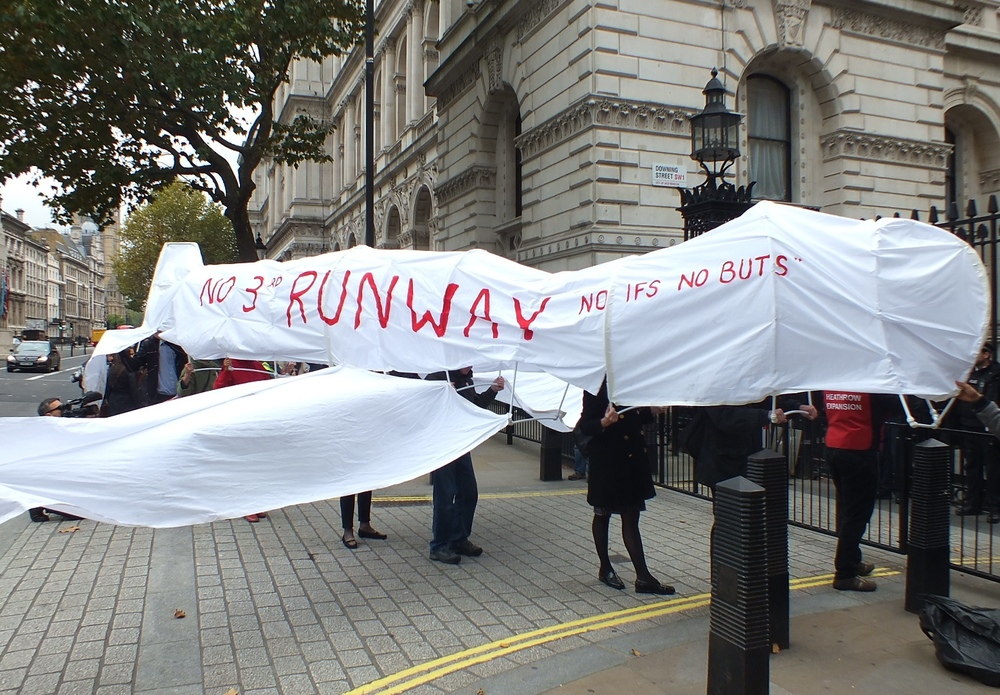 Model plane lands outside the Downing Street gates