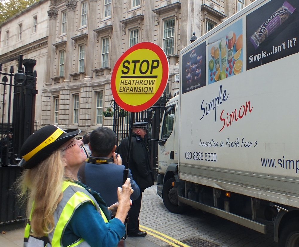 "Stop Heathrow Expansion - as the lorry delivering to Downing Street says, ""Simple....isn't it?"""
