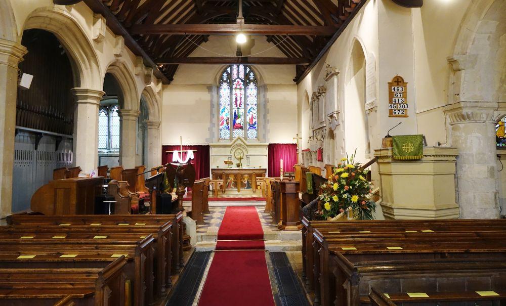 Inside St Mary's Church in Harmondsworth