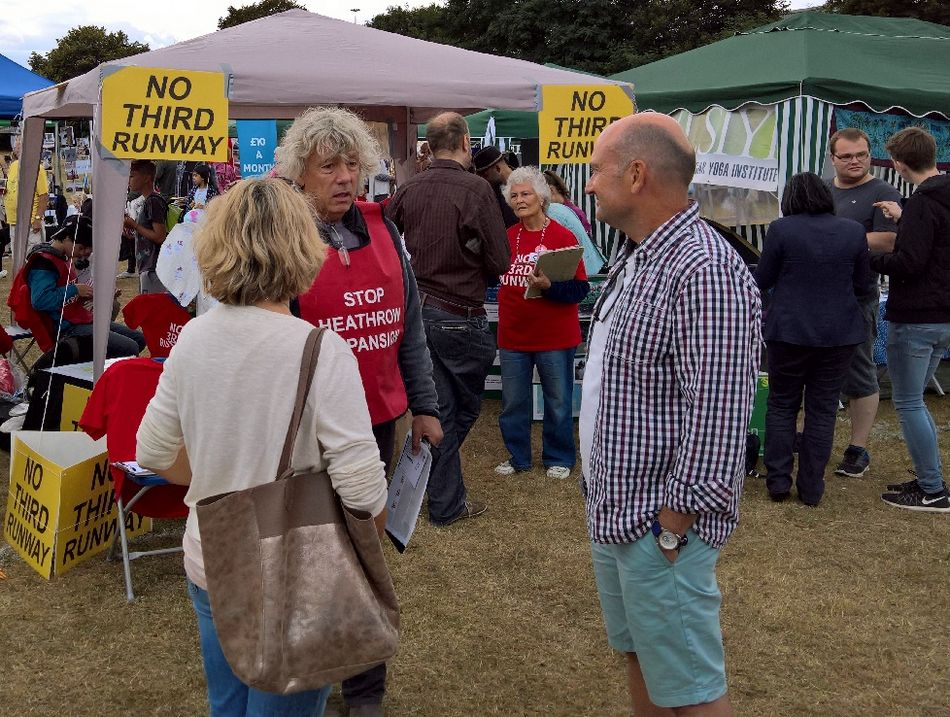 No 3rd Runway campaigners speak with local residents at the Brentford Festival on 4 September 2016.