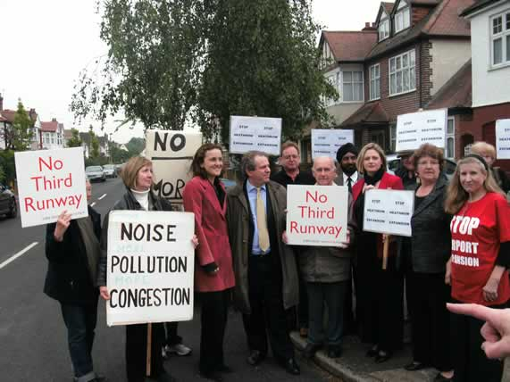 May 2009 - Campaigners and politicians against a third runway. Conservatives won votes in Brentford and Isleworth because they strongly opposed a third runway. Mary McLeod (third from right) became the new Conservative MP for the area in 2010 beating Labour's Ann Keen MP who was pro-runway.