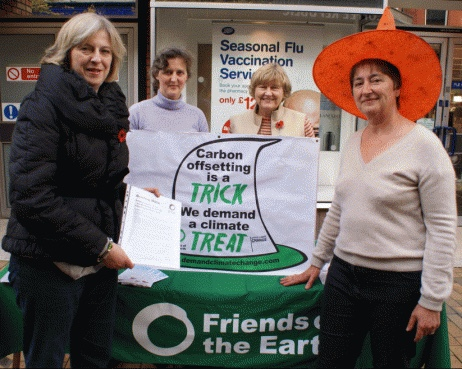 Halloween 2009 - May in Maidenhead telling Friends of the Earth members that she is concerned about climate change.