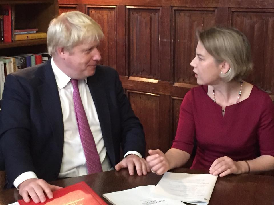 Both strongly opposed to a third runway - Tania Mathias MP with Boris Johnson MP