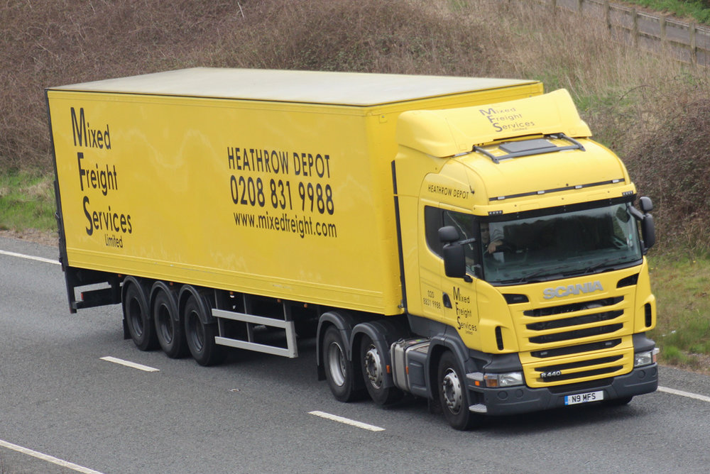 Large trucks clog the roads and motorways near Heathrow - no sign of electric vehicles here