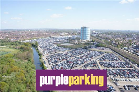 Purple Parking site in Southall - at least these cars are not parked on local streets