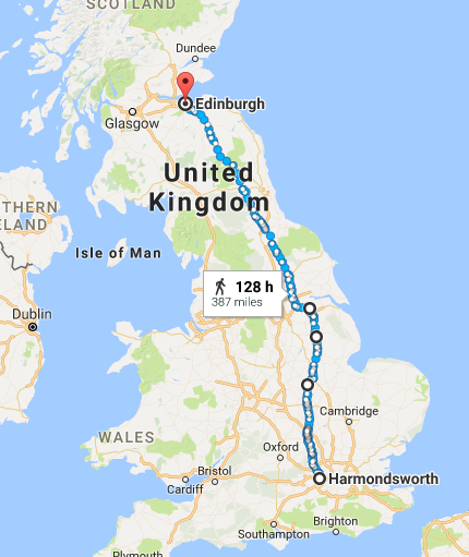A map of the route from Harmndsworth - Edinburgh