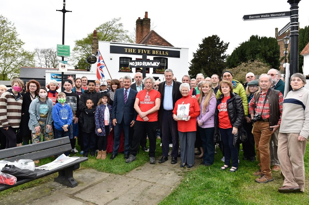 Dozens of well-wishers, including Zac Goldsmithm Hillingdon Council Leader Ray Puddifoot, local residents and campaigners joined Neil in Harmondsworth Village on Tuesday morning as he left for Scotland.