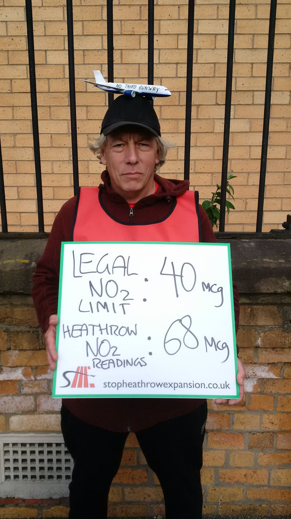Nitrogen Dioxide readings around Heathrow are reaching 68 microgrames per cubic metre. The legal maximum limit is 40.
