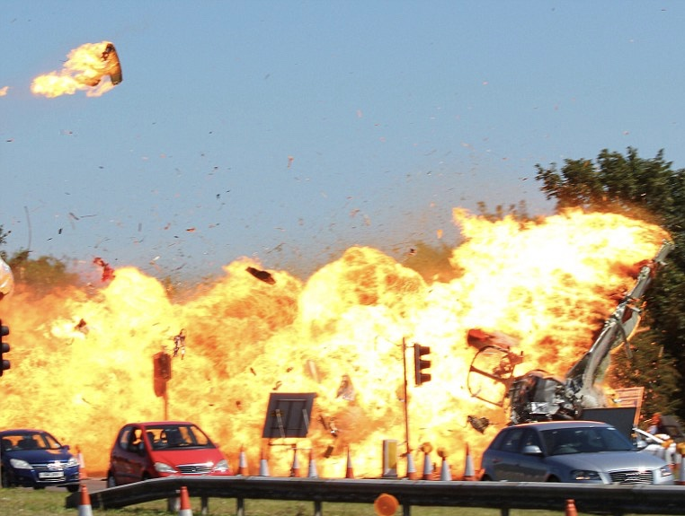 One small jet creates an inferno when it hits the A27 Shoreham by-pass during an air display