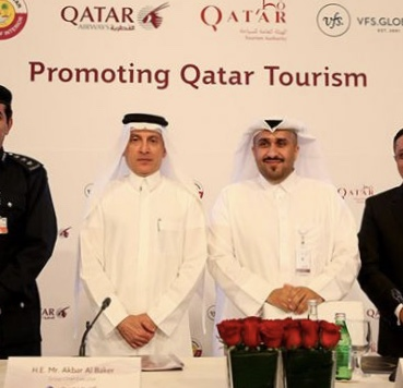 September 2016 - Mr Akbar Al Baker (on left) looks like a man who knows that Qatar Tourism is about to take a nosedive.