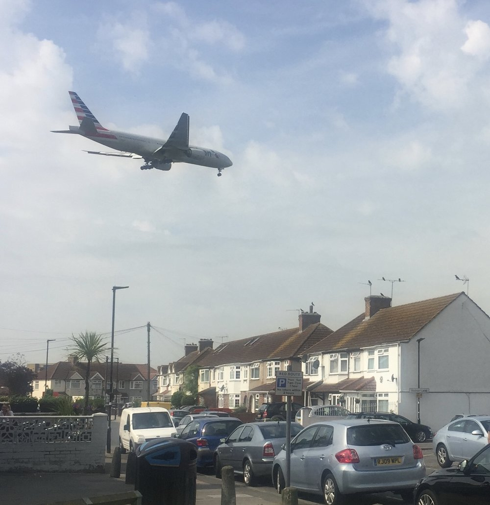 Cranford, in the Borough of Hounslow, under a relentless stream of aircraft preparing to land