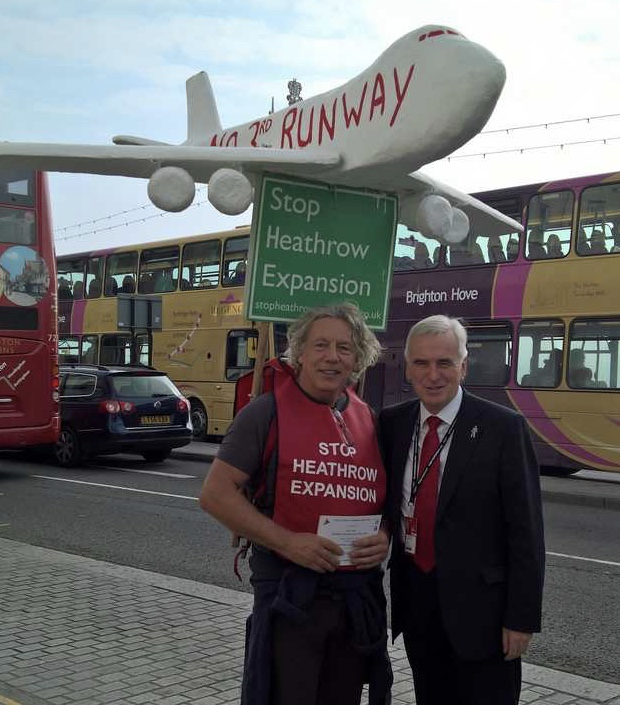 John McDonnell MP with Neil in the brilliant, Brighton sunshine outside the fringe meeting